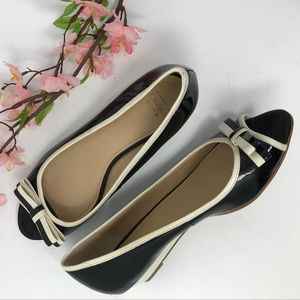 Black Cream Contrast Patent Peep Toe Wedges 6 M